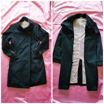 Pink Bunnys黒ブラック裏地ピンク3way綿コット長袖ロングコート