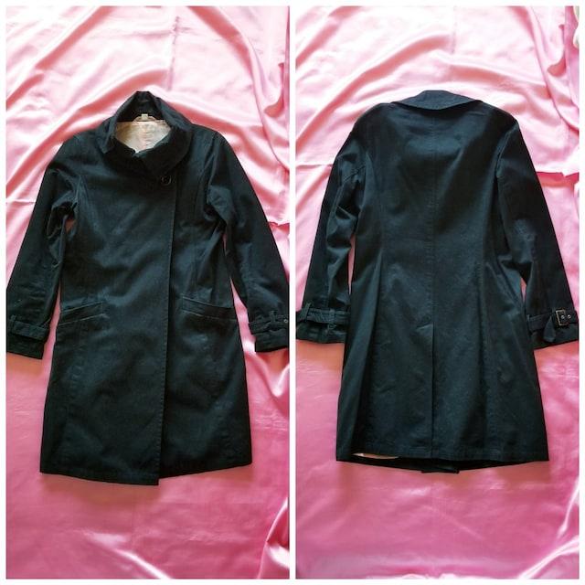 Pink Bunnys黒ブラック裏地ピンク3way綿コット長袖ロングコート < 女性ファッションの
