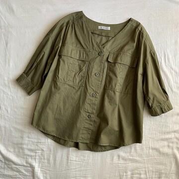 七分袖ミリタリーVネックシャツジャケット