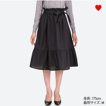 ユニクロ・ハイウエストリボンフリルスカート。ブラックLサイズ
