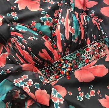 イルマ 高級 ビーズ ビジュ 花柄 背中見せ ロングドレス