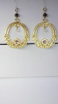 ゴールド花の輪ラインストーンスワロフスキー樹脂フック