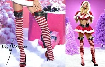T03)LEGAVENUEレッグアベニューニーハイソックスボーダークリスマスサンタ衣装コスチュームダンス