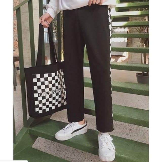 ★オルチャン★ ダイヤ柄 パンツ 韓国 パープル 他カラー有 < 男性ファッションの