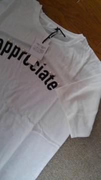 Lサイズ!パール風ビーズ付き!ロゴ半袖Tシャツ!新品タグ付き!オフホワイト色合い