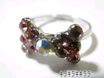 《New》ageha掲載★キラキラ*パヴェリボン・リング/指輪<ピンク>【箱付】