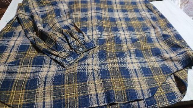 ◆新品同様◆チュニックシャツ LL イエロー×ネイビー < 女性ファッションの