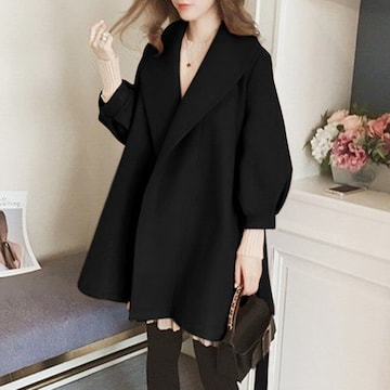 新品大きいサイズ5L(6L7L)ゆったりパフスリーブコート黒