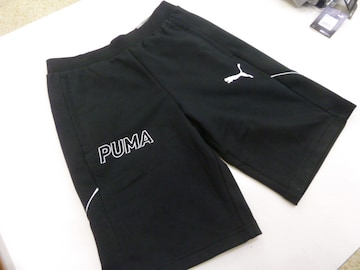 L黒)プーマ★ハーフパンツ スウェット582838ショート丈 ポケットファスナー付