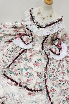 花柄ピンクロングドレス Lサイズ