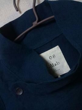 ●08Mab●リネン スタンドカラージャケット*カーデ新品9612円ネイビー