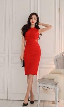 赤バックシャンオープンリボンタイトシースルーワンピースドレス