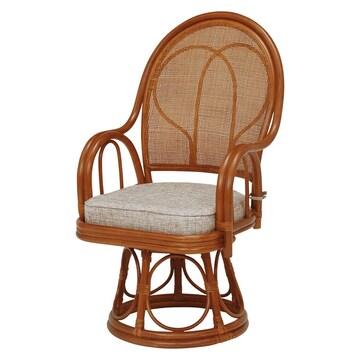 籐回転座椅子 RZ-045BR(2個セット)
