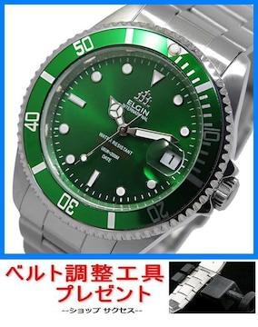 送無 新品■エルジン自動巻腕時計 FK1405S-GR★ベルト調整具付