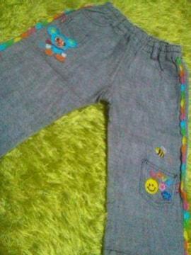 ●ミニK●刺繍パンツ80美品