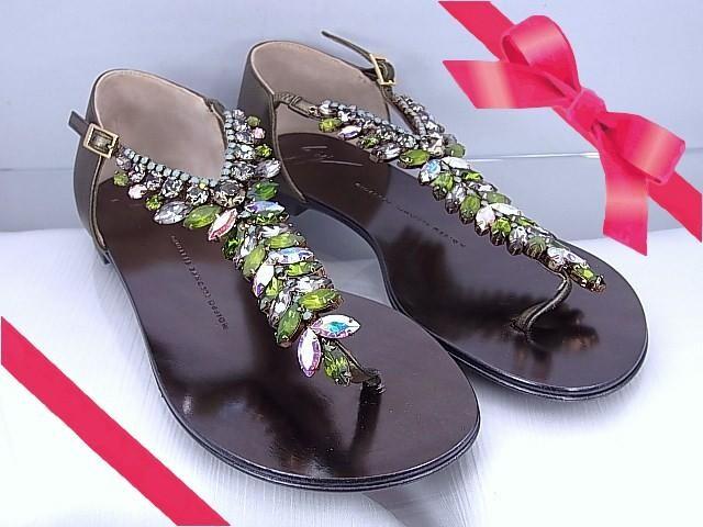 【即買い】ジュゼッペザノッティ ビジュー付 トングサンダル 36 新品★dot  < 女性ファッションの