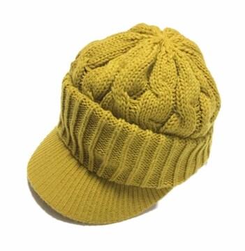 キャスケット帽子〓ツバ付きニット帽〓イエロー〓美品〓