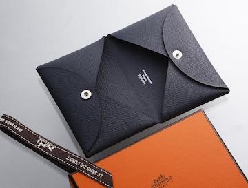 K0600M 真贋済 美品 エルメス カルヴィ 本革 カードケース