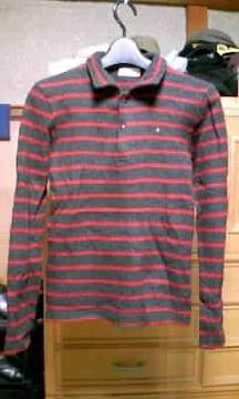 45rpm ウール 長袖ニット カットソー Sサイズ1 ボーダー 黒+赤 日本製 セーター 古着