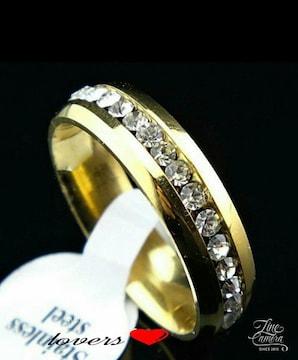 送料無料26号ゴールドスーパーCZダイヤフルエタニティリング指輪