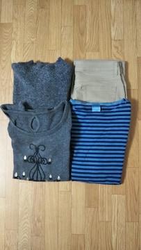 ☆レディース カットソー/シャツ/ニット、セーター/ズボン、パンツ お得な4点セット