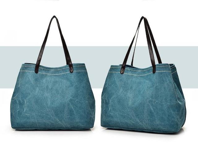 新品大容量キャンバス生地3つ口2WAYショルダーバッグ青ブルー*レディス < 女性ファッションの