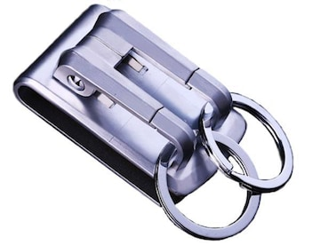 ♪M 高級感のあるデザイン ベルト用キーフックホルダー シルバー