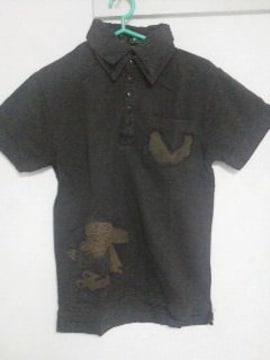 A-208★新品★半袖刺繍入りポロシャツ ブラック M