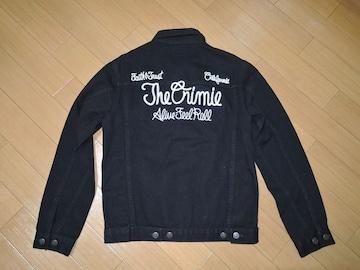 新品クライミーCRIMIEデニムジャケットS黒ステッチ刺繍ロゴ