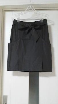 新品/プレミアムバイラストシーン/リボンベルト付き/膝丈スカート/ブラウン