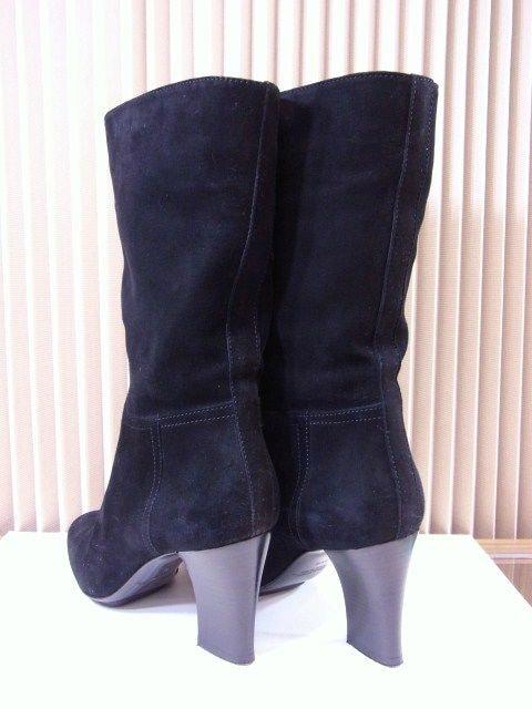 【即買】SANTONI サントーニ スェード ハーフブーツ 黒 35ハーフ 極美★dot < 女性ファッションの