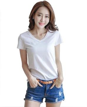 990円★シンプルVネックTシャツ 半袖 白 L