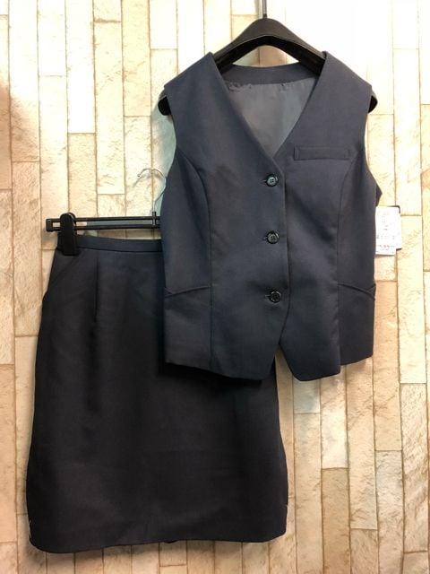 新品☆9号♪紺系お仕事ベストスーツ♪タイトスカート☆n301  < 女性ファッションの