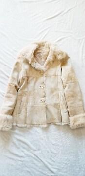 ★ラビットうさぎベージュ軽量ふわふわ暖か毛皮ファージャケット