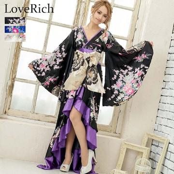 サテン和柄 フリルロング着物ドレス 衣装 ダンス よさこい チャムドレス