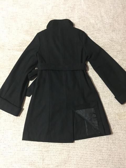 632.冬コート☆デカボタン 袖フレアー 紐ベルト☆黒/ブラック < 女性ファッションの