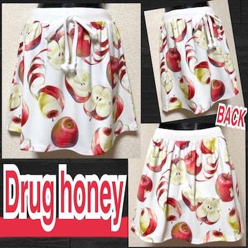 【新品/Drug honey】毒蜜林檎柄ミニスカート/ホワイト