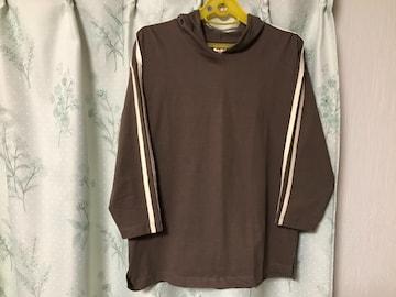 新品未使用フード付 ブラウン肩ラインTシャツトップスパーカー
