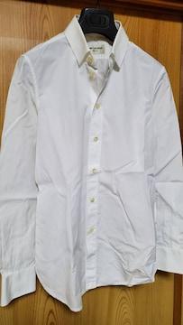 正規レア サンローランパリ YSL 細身ドレスシャツ白 無地ホワイト 最小34 XXS エディ