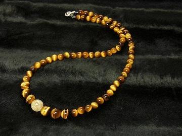 金運を呼ぶパワーストーン タイチンルチル×タイガーアイネックレス 天然石数珠