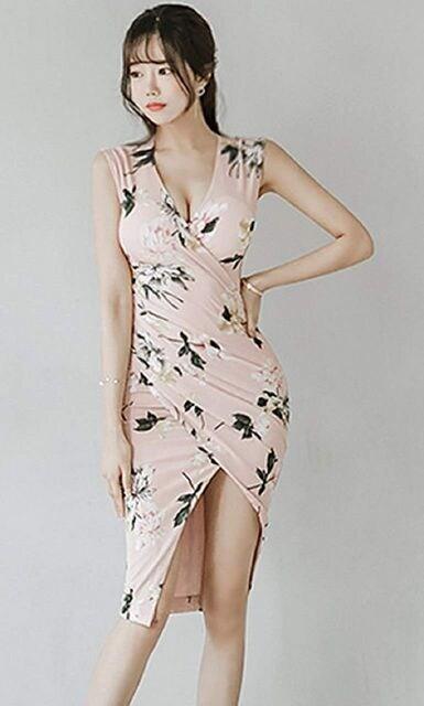 カシュクール スリット入りワンピース(XL寸・ピンク) < 女性ファッションの
