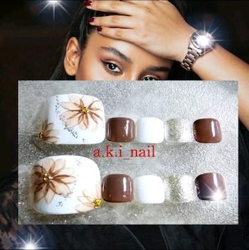ジェルネイルチップ☆付け爪〜フラワー×ブラウン&ホワイト