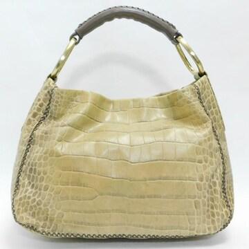SAZABYサザビー ハンドバッグ 型押しレザー 薄黄土色 正規品
