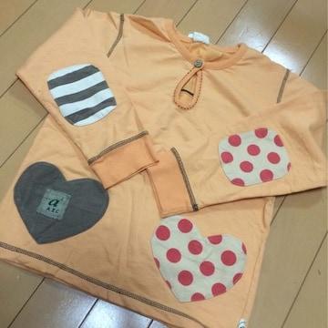 新品◆パッチ&ハートポケットが可愛い長袖Tシャツ◆130オレンジ