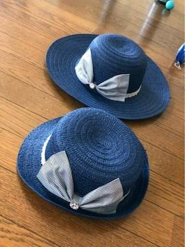 紺にレースストーンボーダーデカリボン麦わらカンカン帽子お揃い