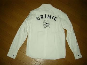 クライミーCRIMIEスカル背ロゴシャツS白ステッチ刺繍