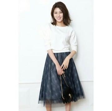 新品★ロング★JUSGLITTY★チュールスカート★チェック★アプワイザー★紺★マキシ