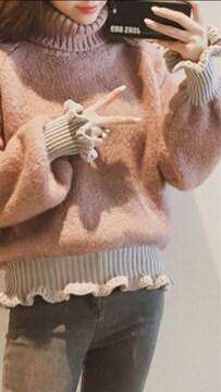☆新品☆可愛い*パルーンスリーブタートルネックニットセーター