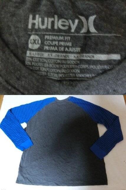 USA購入【Hurley】Premium Fit 両腕サーマル素材 ロングT US XXL < ブランドの