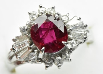 【鑑別】Pt850 ルビー 1.29ct ダイヤモンドリング 9号 指輪